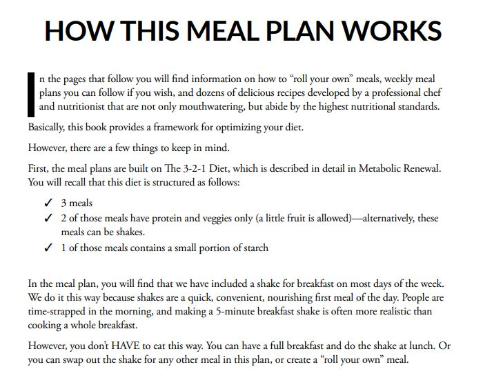 12 Week Metabolic Renewal Meal Plan