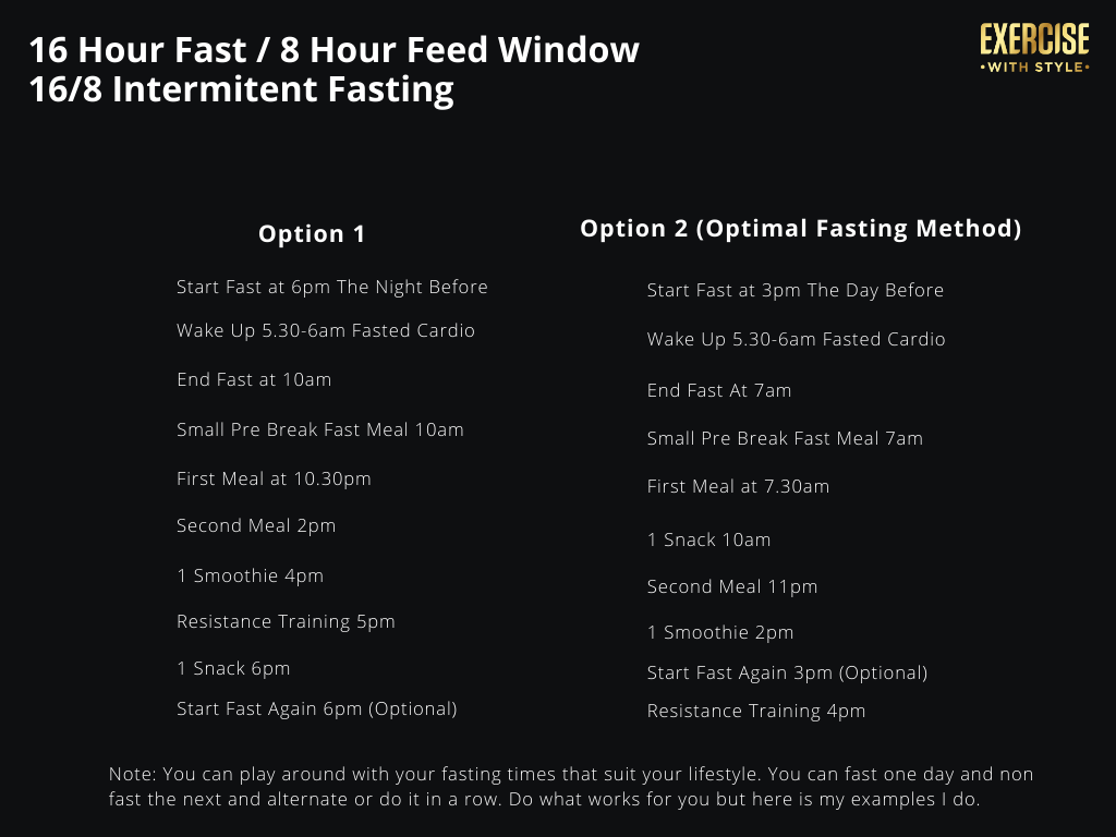 Example 16/8 Intermittent Fasting Schedule
