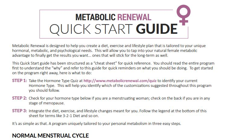 Metabolic Renewal Quick Start Guide