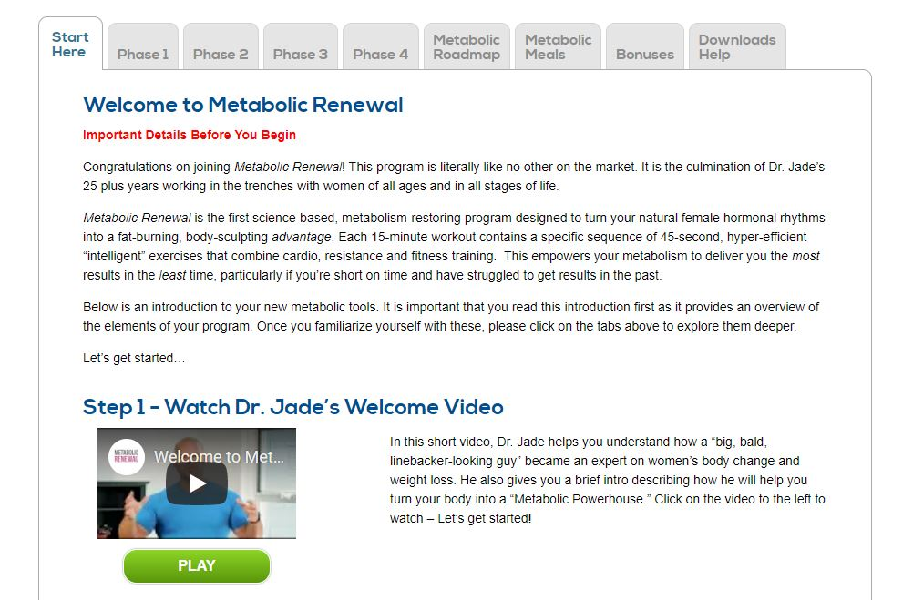 Metabolic Renewal Members Area